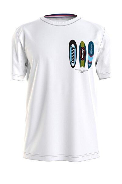 Erkek Beyaz T-Shirt Drop Shoulder Tee-Prınt UM0UM02114