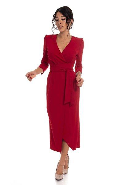 Kadın Kırmızı Kruvaze Avelop Truvakar Krep Şık Elbise