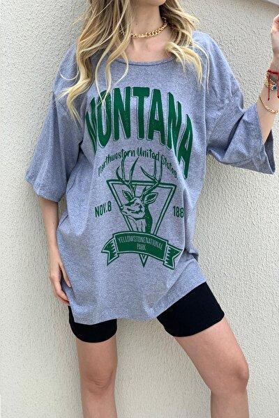 Kadın Gri Montana Baskılı Oversize T-shirt