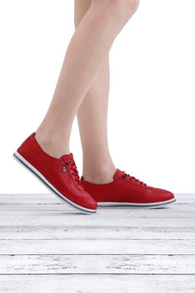 Ayakkabı Hakiki Deri Spor Kadın Ayakkabı 7876 Kırmızı Nata