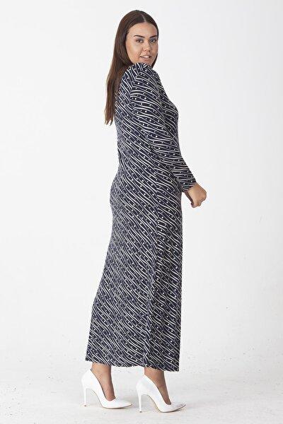 Kadın Lacivert Viskon Desenli Uzun Kol Elbise 65N22572