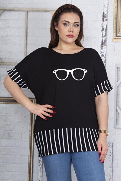 Kadın Siyah Taş Ve Baskı Detaylı Çizgi Kombinli Bluz 65N22685