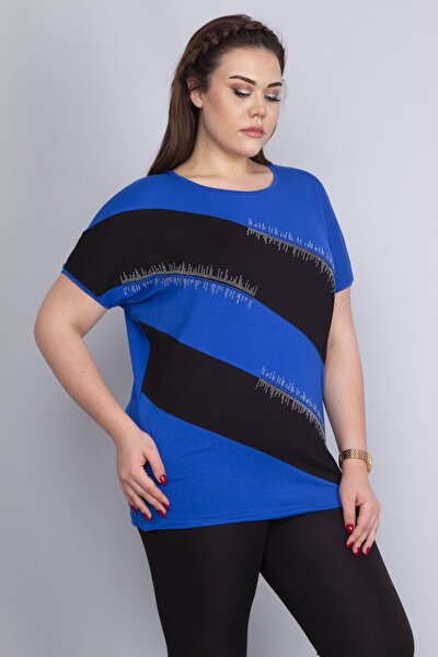 Kadın Saks Taş Detaylı Düşük Kollu Viskon Bluz 65N22687