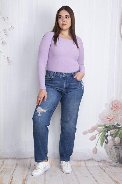Kadın Lacivert Yırtık Detaylı 5 Cepli Kot Pantolon 65N22662