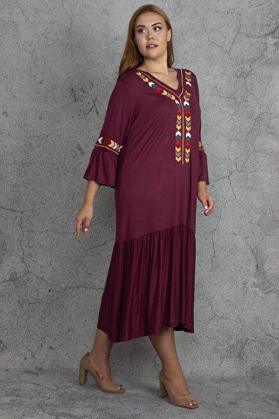 Kadın Bordo Nakış Detaylı Viskon Elbise 65N22608