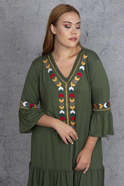 Kadın Haki Nakış Detaylı Viskon Elbise 65N22608