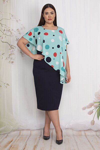 Kadın Yeşil Puan Pelerinli Elbise 65N22624