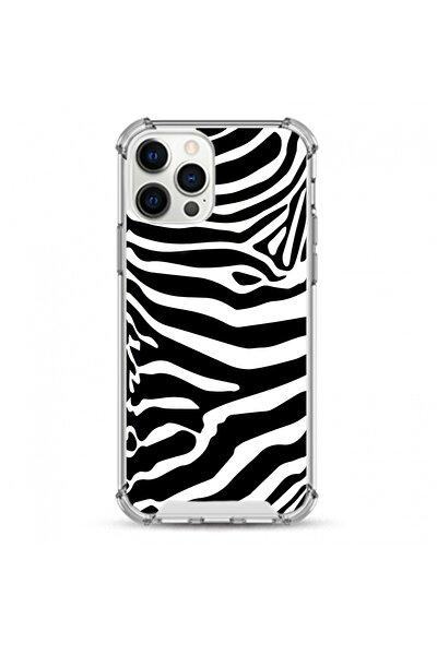İphone 12 Pro Max Uyumlu Siyah Zebra Desen Darbe Koruyuculu Damla Baskı Silikon Kılıf