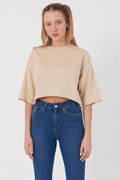 Kadın Bej Basic T-Shirt B112 - J8 Adx-0000023873