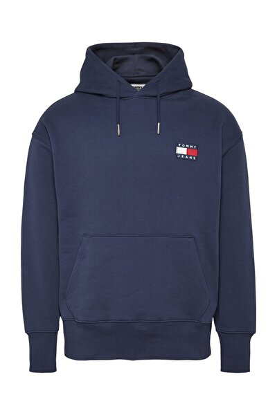 Erkek Mavi Sweatshirt Tjm Tommy Badge Hoodıe DM0DM06593