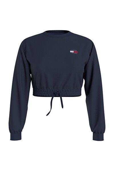 Kadın Mavi Sweatshirt Tjw Super Cropped Badge Crew DW0DW09797