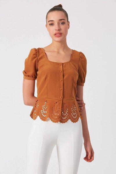 Kadın Taba Etek Ucu Detaylı Bluz