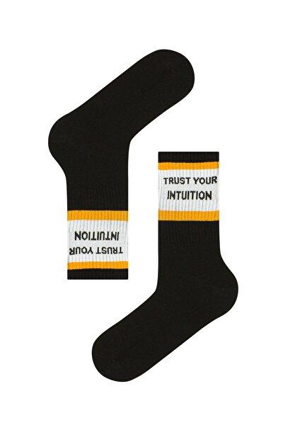 Erkek Siyah Cool Slogan Soket Çorap