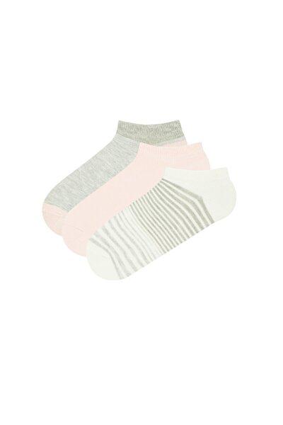 Kadın Pembe Gri Beyaz Patik Çorap 3lü