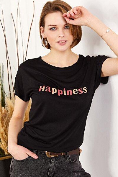 Kadın Siyah Salaş Tişört TSH-19000351