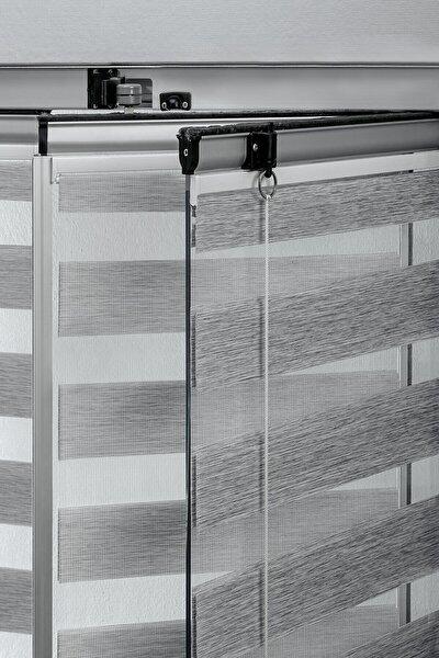 Gri Cam Balkon Sürgülü Cam Perdesi - Brillant Yapıştırmalı Zebra Perde Venti Vcb2809