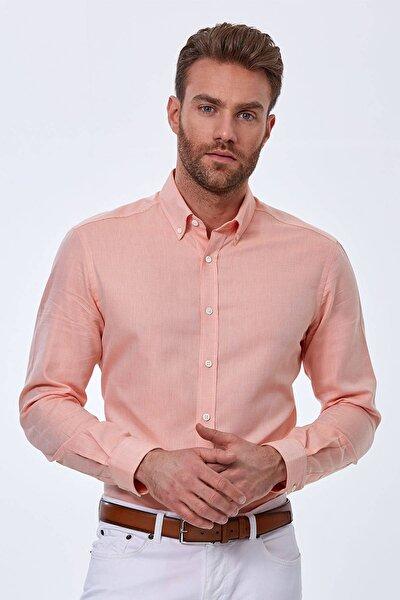 Turuncu Yazlık Oxford Gömlek
