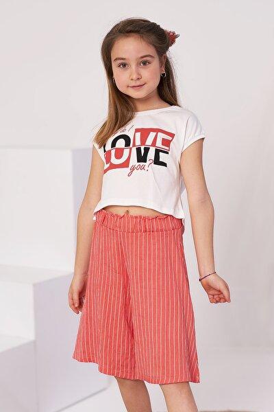 Kız Çocuk Nar Çiçeği Love Baskılı Ikili Takım