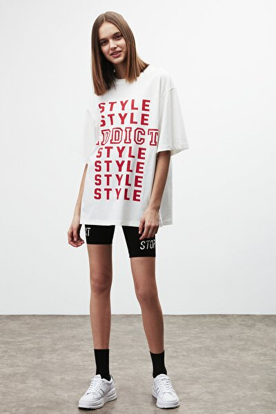 MAYBE Kadın Beyaz Önü Yazı Baskılı T-Shirt