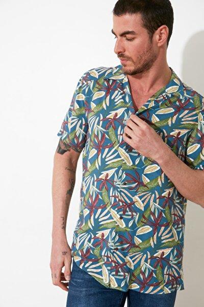Çok Renkli Erkek Regular Fit Apaş Yaka Kısa Kollu Gömlek TMNSS21GO0676