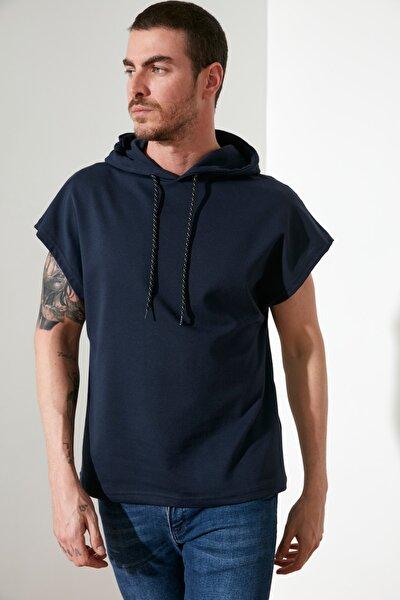 Lacivert Erkek Kapüşonlu Oversize Kısa Kollu  Sweatshirt TMNSS20SW0148