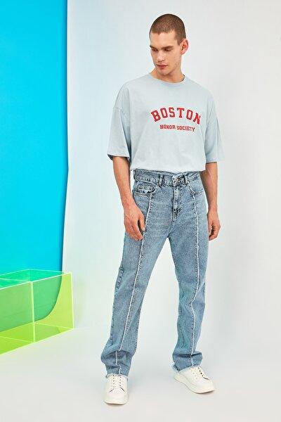 Açık Mavi Erkek Önden Pis Dikişli Straight Fit Jeans TMNSS21JE0057