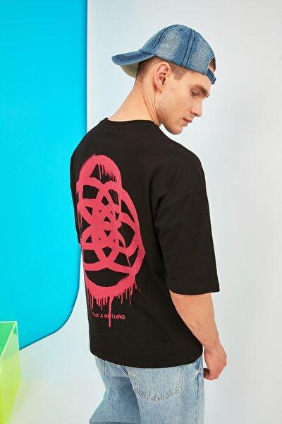 Siyah Erkek Oversize T-Shirt TMNSS21TS1062