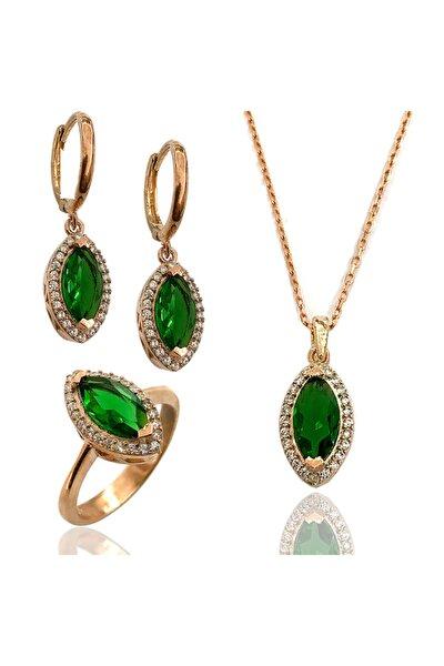 Kadın Yeşil Taşlı Mekik Model  Gümüş Üçlü Zirkon Set 2020016