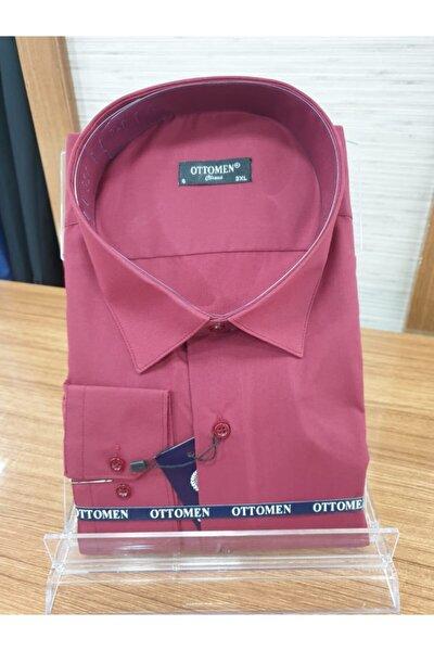 Erkek Bordo Büyük Beden Klasik Düz Renk Gömlek