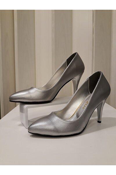Kadın Gümüş Parlak 8,5 Cm Topuklu Stiletto Ayakkabı