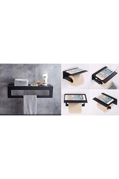 2li Set Paslanmaz Askısız Mutfak Banyo Raflı Havluluk Tuvalet Kağıtlığı Wc Kağıtlığı Telefon Koymalı