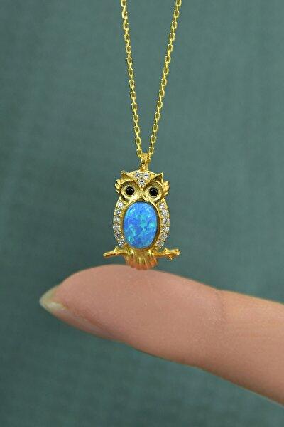 925 Ayar Gümüş Gold Kaplama Opal Baykuş Kolye