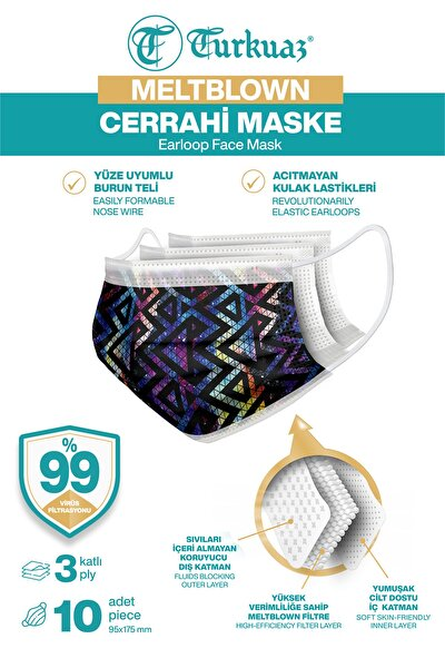 Desenli 10 Adet Cerrahi Maske 3 Kat Meltbrown Burun Telli Yumuşak Elastik Lastikli Renkli Geometrik