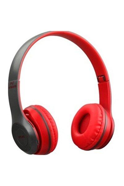 P47 Wireless Bluetooth Kablosuz Extra Bass Radyolu Katlanabilir Kırmızı Kulaklık Genç Çocuk
