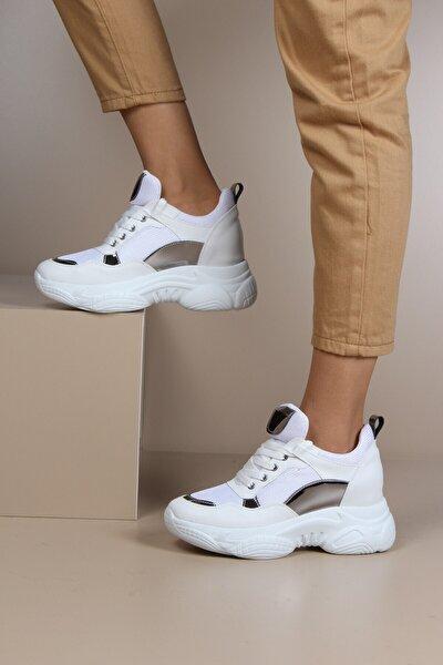 Gizli Topuklu Beyaz Günlük Kadın Sneaker Spor Ayakkabı