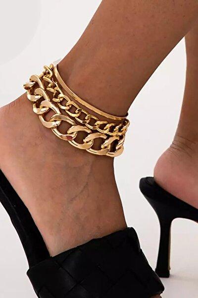 3lü Gold Kaplama Ayak Bilekliği Bileklik Zincir Halhal Altın Hal Hal