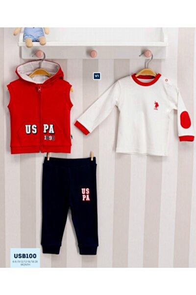 U.s. Polo Assn Lisanslı Bebek 3'lü Uzun Kol Takım Kırmızı Usb100