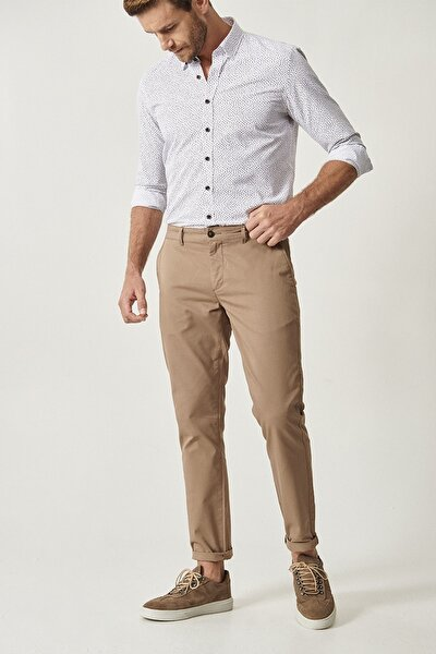 Erkek Bej Kanvas Slim Fit Chino Pantolon