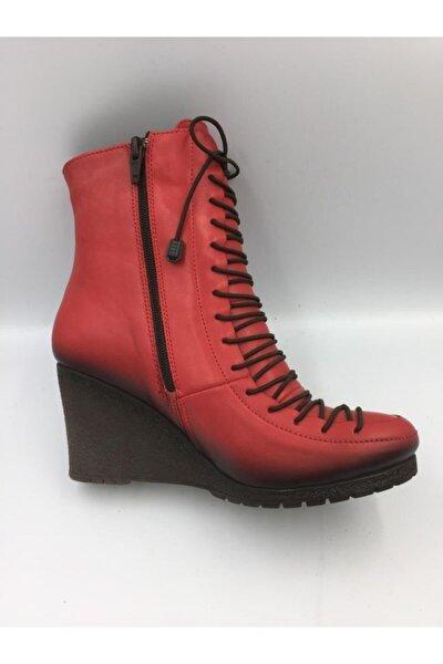 Kadın Kırmızı Deri Bot D14kb-1180