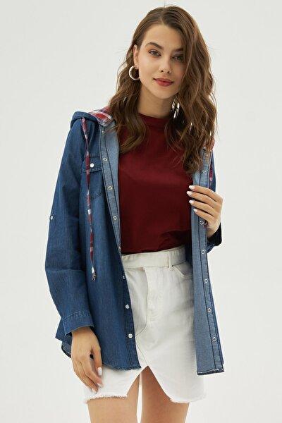 Kadın Lacivert Kapüşonlu Uzun Kollu Kot Gömlek