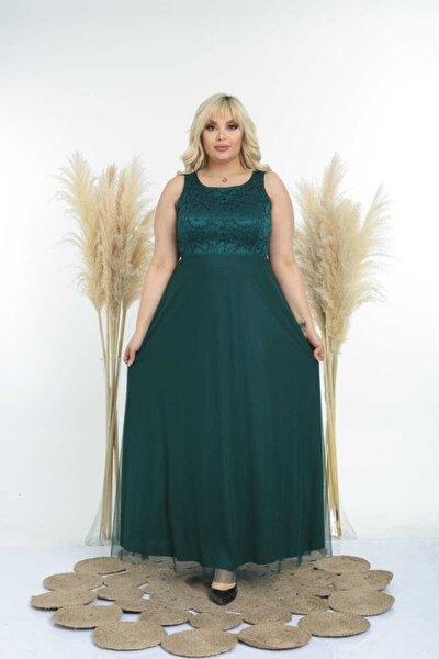 Kadın Yeşil Büyük Beden Sıfır Kol Uzun Abiye Elbise