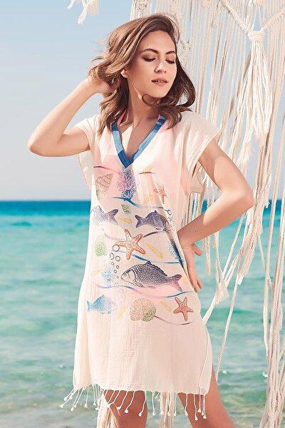 Kadın Naturel Balık Desenli Pamuklu Yakalı Plaj Elbisesi