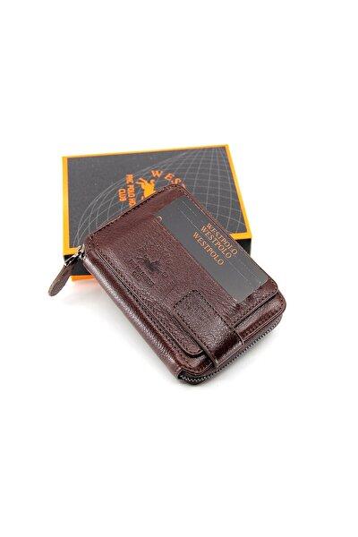 Erkek Kahverengi Hakiki Deri Cüzdan Kartlık Mds1795