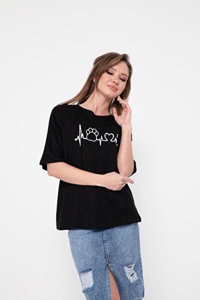 Kadın Siyah Bisiklet Yaka Salaş T-Shirt