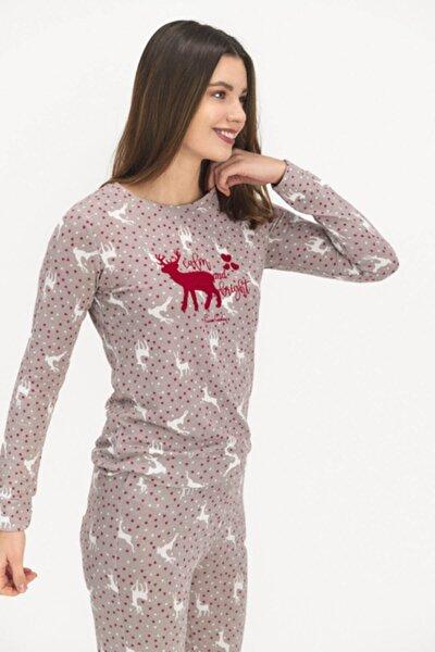 Kadın Gri Geyikli Kabartma Pijama Takımı Pc7663