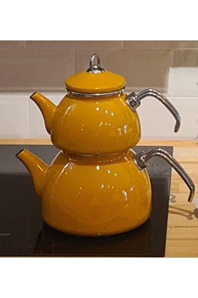 Bal Sarısı Emaye Çaydanlık