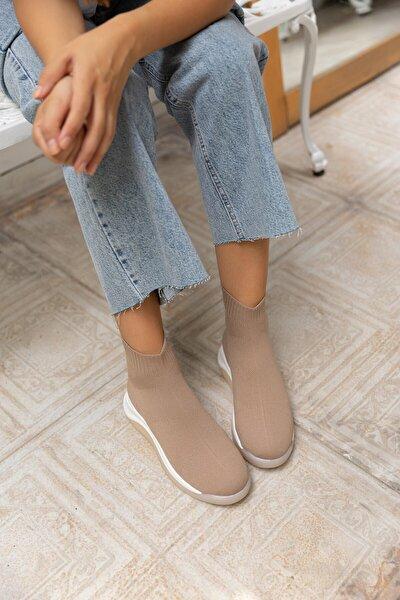 Kadın Nude Triko Streç Çorap Sneaker