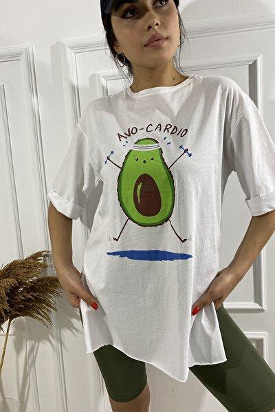 0700-4444 Avakado Baskılı Kolları Katlamalı T-shirt