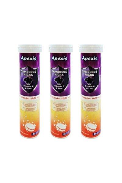 Sambucus Nigra Vitamin C & Zinc 1000 Mg 20 Tablet * 3 Paket