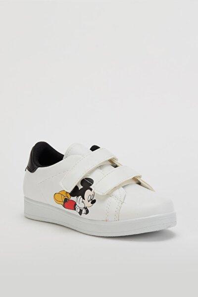 Unisex Çocuk Beyaz Cırtlı Ayakkabı